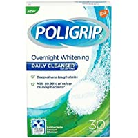 THREE PACKS of Poligrip Overnight Whitening Daily Cleanser 30 Tablets by Poligrip