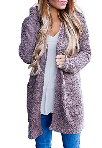 ZESICA Women's Casual Long Sleeve Open Front Sweater Chunky Knit Cardigan Outwear with Pockets