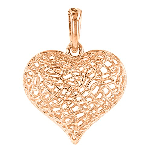 (Textured 14k Rose Gold Puffed Filigree Heart Charm Pendant)