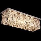 CRYSTOP Modern Art Deco Rectangle Chandelier Lighting Crystal Ball Pendant Flushmount Home Ceiling Lamp Fixture For Bedroom,Living Room,Foyer L31.5 x W10 x H8.8 inch