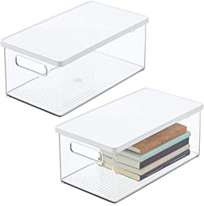 mDesign Plastic Stackable Storage Desk Organizer Bin Box with Handles, Lid for Home Office to Hold Pens, Erasers, Tape, Pens, Pencils, Markers, Notepads, Highlighters, Staplers - 2 Pack - Clear/White