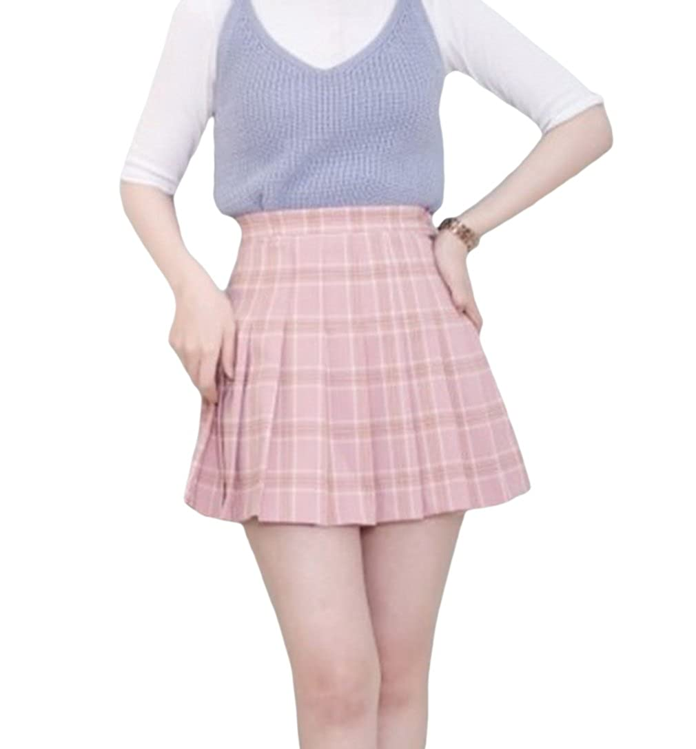 Jixin4you Women Checkered A Line Ruched Mini Pleated Skirt JX4U180124493