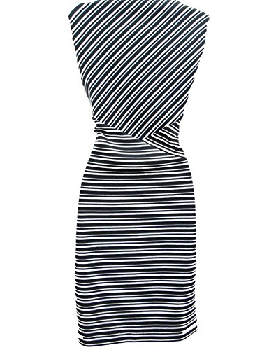 Sheath Black Dress Klein 4 Stretch White Stripe Textured Calvin Sleeveless Size q0wp4p