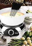 Artestia Electric Ceramic Fondue Set with 6 Fondue Forks (Glossy Base/White Ceramic Pot)