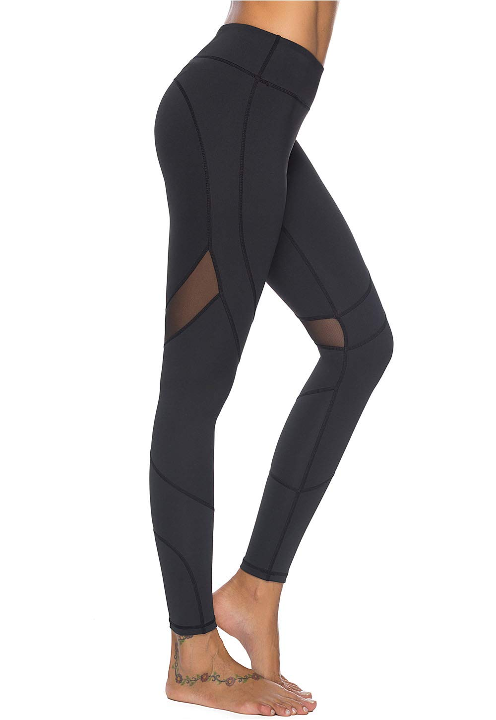 Mint Lilac Women's High Waist Full-Length Leggings Athletic Workout Pants with Mesh Panelss Small Black