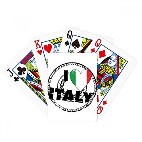 I Love Italy Word Flag Love Heart Pattern Poker Playing Cards Tabletop Game Gift by beatChong