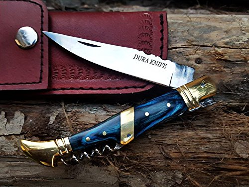 DURA KNIVES Dk-10 color wood 4'' Custom Handmade stainless Steel Bolster Folding Pocket Knife 100% Prime Quality Plus Beautiful Stainless Steel Pocket Knives LIMITED EDITION -