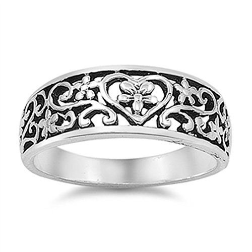 Antiqued Floral Heart Plumeria Filigree Ring 925 Sterling Silver Band Size - Band Silver Filigree Sterling