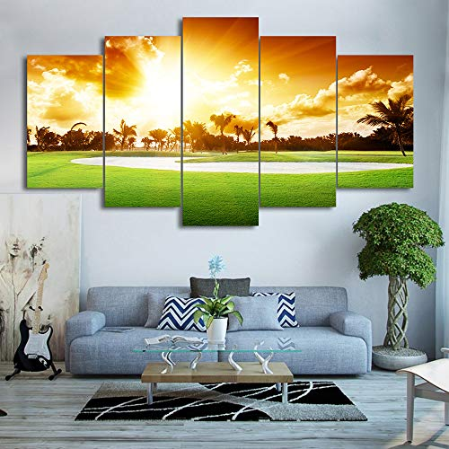 PEACOCK JEWELS [Large] Premium Quality Canvas Printed Wall Art Poster 5 Pieces / 5 Pannel Wall Decor Morning Golf Course Painting, Home Decor Pictures - Stretched
