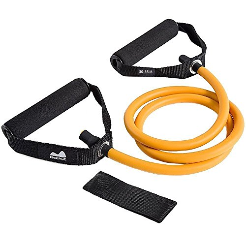 Reehut Single Resistance Band, Exercise Tube - With Door Anchor and Manual Orange (Resistance Band Equipment)