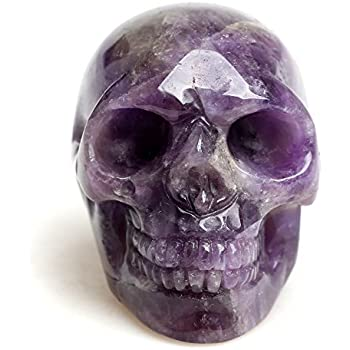 Healing Skull Quartz Crystal Figurines Sculpture,Natural Amethyst Fluorite Gemstone Stone,Reiki Carved Skull Statue Collection Home Decor Length 2 Inches