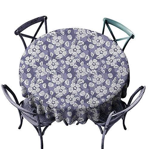 ScottDecor Tulle Round Tablecloth Circular Table Cover Garden Art,Spring Season Illustration with Blooming Flower Doodles Serene Nature Motifs, Lavander White Diameter ()
