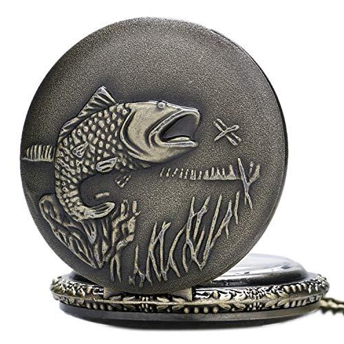 ZJZ brons 3D-effekt kvarts fickur halsband på 80 cm / 80 cm kedja kvarts fickur