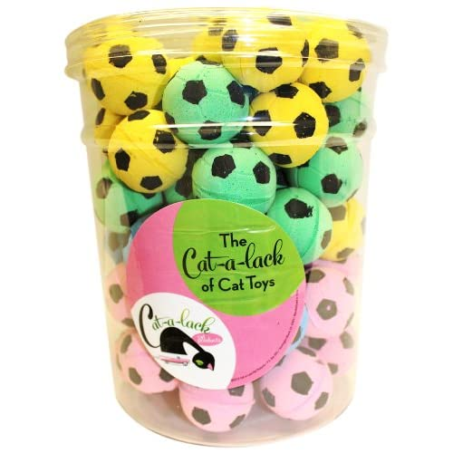 Cat-A-Lack 72-Piece Soccer Balls in Jar for Pets