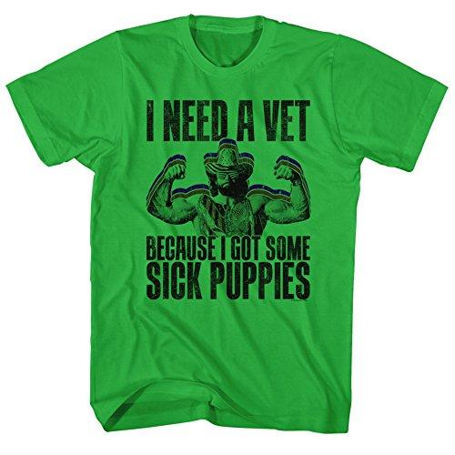 Macho Man WWF Sick Puppies Kelly Green Adult T-Shirt Tee ()