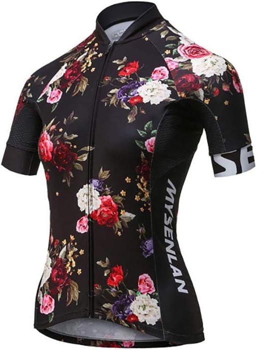MYSENLAN Damen Radtrikot Kurzarm Fahrradtrikot Fahrradbekleidung f/ür Fraunen mit Elastische Atmungsaktive schnelltrocknend