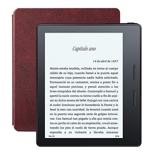 E-reader Kindle Oasis con funda de carga de cuero, pantalla de 6″ (15,2 cm) de alta resolución (300 ppp) con luz integrada, wifi + 3G gratis