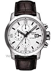Tissot Mens T0554271601700 Automatic Chronograph and Tachymeter Sapphire Crystal Leather Band Watch