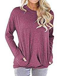Women Casual Long Sleeve Round Neck Sweatshirt Loose Blouses Tops with Pocket Purple X-Large