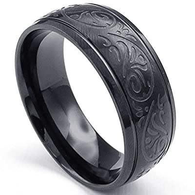 KONOV Jewelry Mens Stainless Steel Ring, Engraved Florentine Design Charm 8mm Band, Black