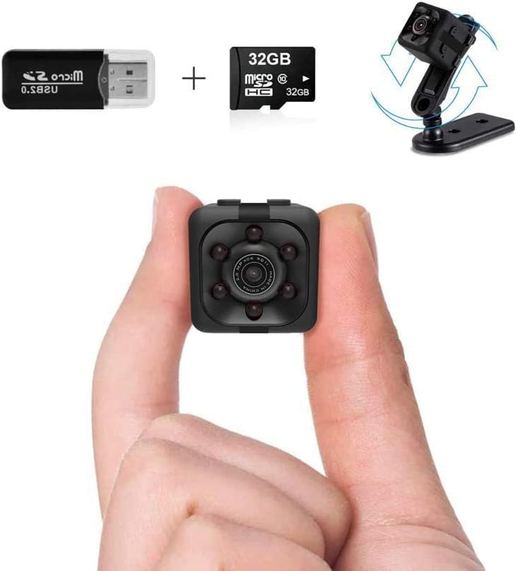 Mini Spy Camera | 1080P Small Spy Cop Nanny Cam | Wireless Mini Hidden Camera With Night Vision and Motion Detection | Small camera with 32Gb sd card and Card Reader | No WiFi needed | Security camera