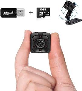 Mini Spy Camera | 1080P Small Spy Cop Nanny Cam | Wireless Mini Hidden Camera With Night Vision and Motion Detection | Small camera with 32Gb sd card and Card Reader | No WiFi needed | Security camera
