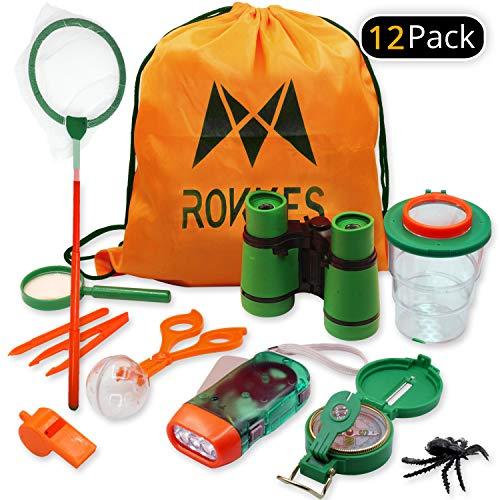 Kids Adventure Kit ,Outdoor Exploration - 12 In 1 Childrens Explorer Toy , Bug Catcher - Binoculars - Flashlight - Compass - Whistle - Magnifying Glass - Butterfly Net - Tweezers - Kid Backpack