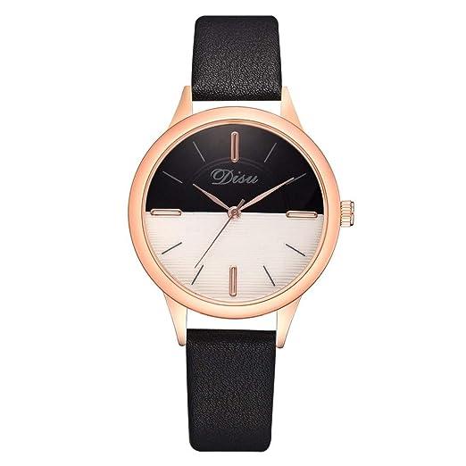 Reloj Mujer Lujo Moda Dama Sencillo Dos Tonos Dial Cinturón De Cuero Relojes Reloj De Cuarzo Relojes De Pulsera: Amazon.es: Relojes