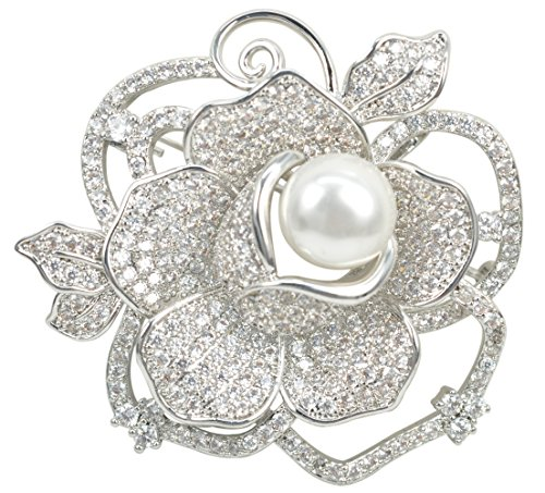 Gyn&Joy CZ White Simulated Pearl Rose Flower Rhodium Plated Brooch Pin Fashion Jewelry BZ128C