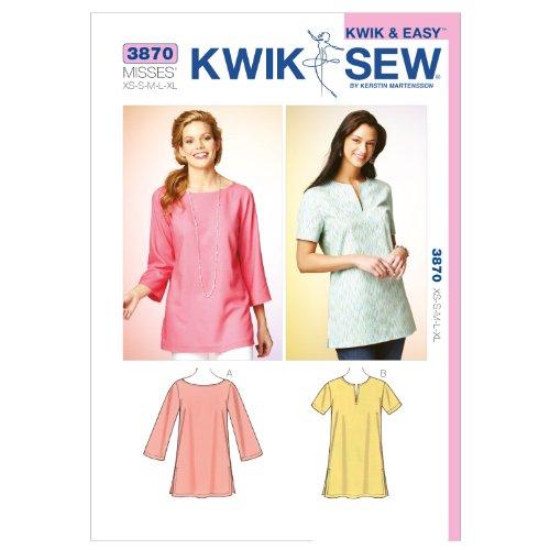 Kwik Sew K3870 Tunics Sewing Pattern, Size XS-S-M-L-XL (Kwik Patterns Sew Sewing)