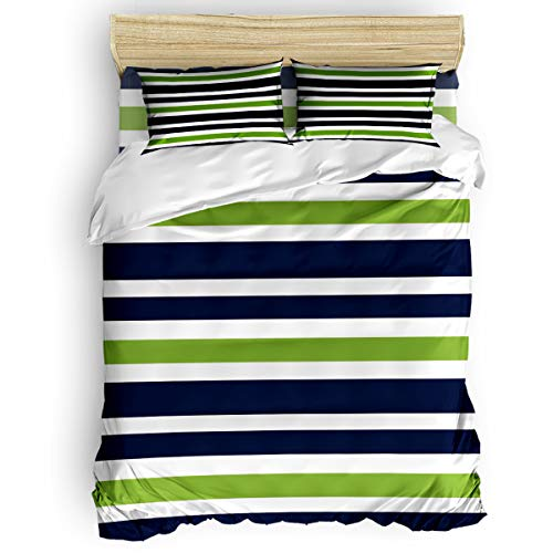 Simple Green Stripes - Picpeak Home Bedding Set 4 Piece Duvet Cover Set Twin Size Simple Navy Blue, Lime Green and White Stripe Soft Bed Sheets, Duvet Cover, Flat Sheet and Pillow Covers for Children/Adults/Teen