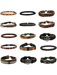 15Pcs Braided Leather Bracelets for Men Women Natural...