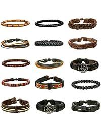 15Pcs Braided Leather Bracelets for Men Women Natural...