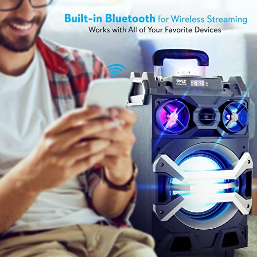 Pyle 500 Watt Outdoor Portable BT Connectivity Karaoke Speaker System - PA Stereo with 8'' Subwoofer, DJ Lights Rechargeable Battery Microphone, Recording Ability, MP3/USB/SD/FM Radio - PWMA325BT by Pyle (Image #4)