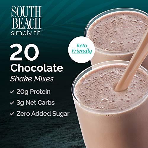 South Beach Simply Fit Shake Mix - Chocolate, 20 ct Case - Keto-Friendly Protein Shakes to Support Healthy Weight Loss