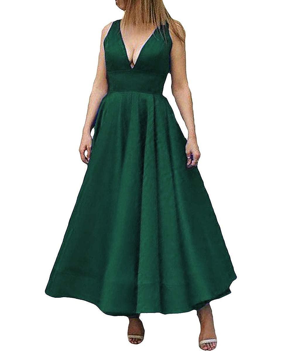 Hunter Kivary Deep V Neck A Line Ankle Length Corset Backless Formal Prom Evening Dress