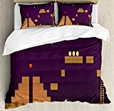 Boy's Room Queen Size Duvet Cover Set by Lunarable, Retro Video Game Screen Coins Hearts Bombs Flames Level Score, Decorative 3 Piece Bedding Set with 2 Pillow Shams, Dark Purple Cinnamon Brown