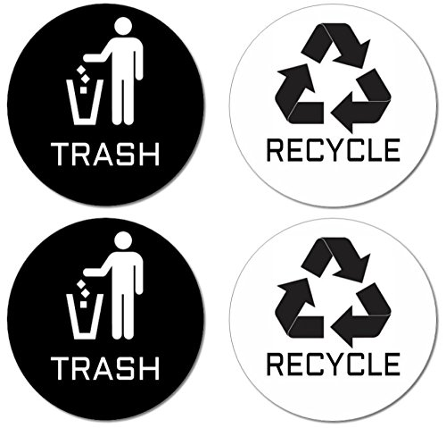 Recycle & Trash Stickers (2 Trash + 2 Recycle, Premium Quality) for Use on Trash Cans & Recycle Bins of All Types; 4