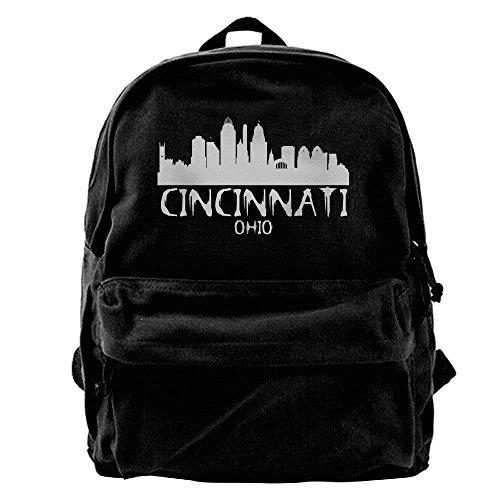 Cincinnati City Skyline Silhouette Unisex Classic Water Resistant School Rucksack Travel Backpack - Ohio Cincinnati Shopping