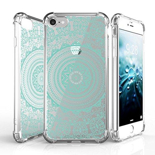 Medallion Corners (iPhone 7 Case, DuroCase AquaFlex 4 Corner Shockproof TPU Bumper w/ Hard Plastic Back Shield 2in1 Hybrid Case (Clear) For Apple iPhone 7 - (Tribal Medallion Mint))