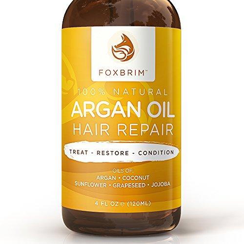 L'huile d'argan cheveux réparation - huiles 100 % naturelles Vegan - Premium réparatrice naturel & organiques cheveux soin - adoucir, protéger & réparer l'huile d'Argan pour cheveux et huile de Jojoba, huile de coco & beurre de karité - Foxbri