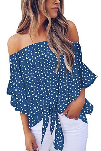 Asvivid Womens Off The Shoulder Summer Blouses Flare Bell Sleeve Polka Dot Printed Tshirt Work Tops Plus Size 2X Blue