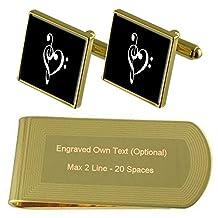 Musical Love Heart Gold-tone Cufflinks Money Clip Engraved Gift Set
