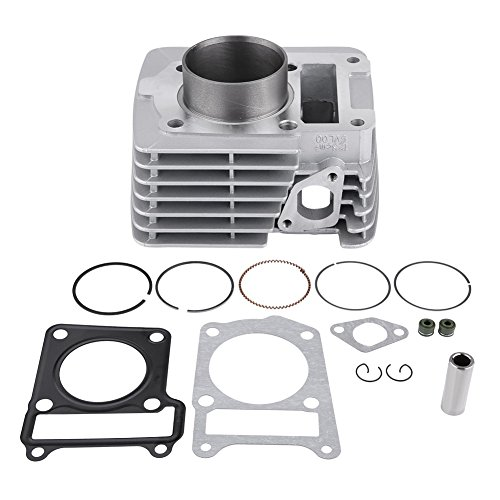 Qiilu Motorcycle Cylinder Piston & Rings Assembly Gasket 54mm Bore for Yamaha YBR125 YBR 125 Engine