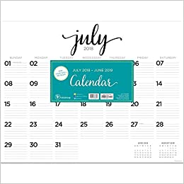 tf publishing 19 8204a july 2018 june 2019 script desk pad calendar 22 x 17 black white
