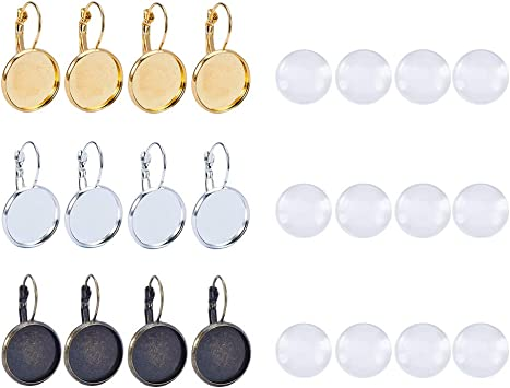 20pcs Stainless Steel Earring Studs12mm Cabochon Setting