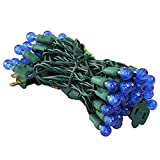 UZEXON Commercial G12 Led Christmas Lights Outdoor Indoor Blue Festive Tree Lights,17Ft 50 Mini Globe Ball String Light for Home Bedroom Patio Garden Wedding Holiday Party Halloween Xmas Mood Lighting Review