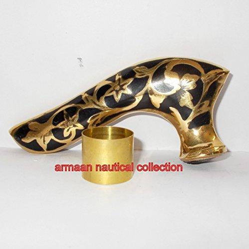 Vintage Brass Designer Handle Victorian Wooden Walking Stick Cane Antique Gift