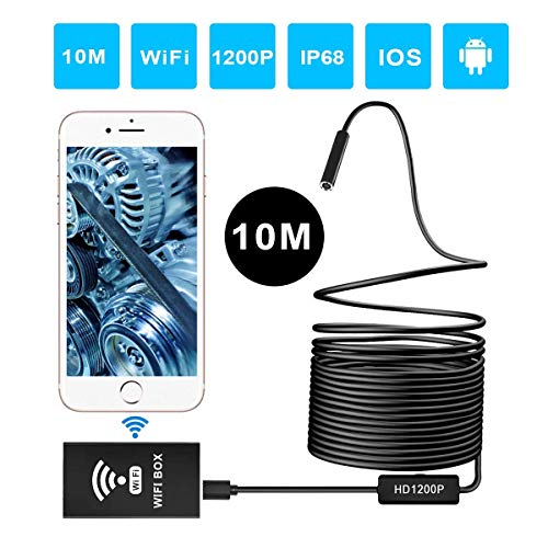 - ERAY 33FT Wireless Endoscope 1200P, WiFi Borescope Inspection Camera 2.0 Megapixels HD Snake Camera with IP68 Waterproof 8 LEDs Lens for Android & iOS Smartphone Tablet Windows and Mac System - Black