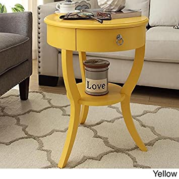 Tripod Round Wood Accent Table Yellow